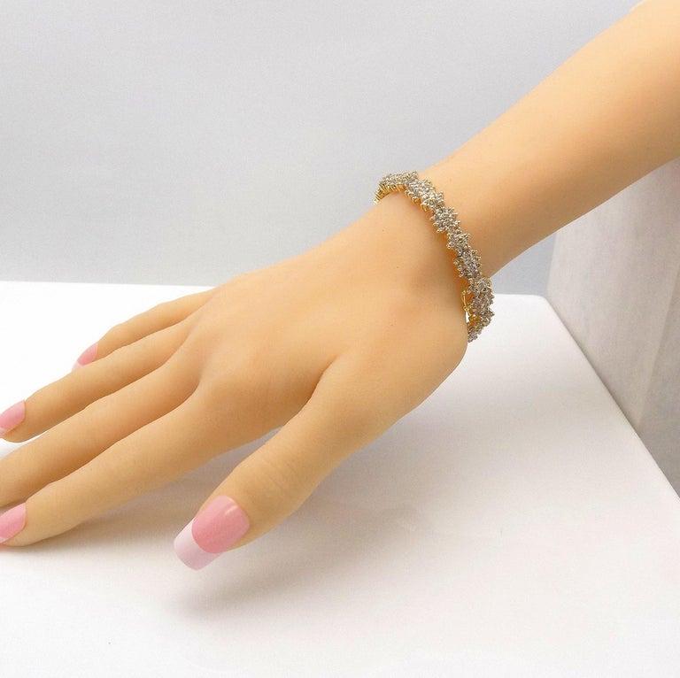 Floral Design Diamond Line Bracelet For Sale 2