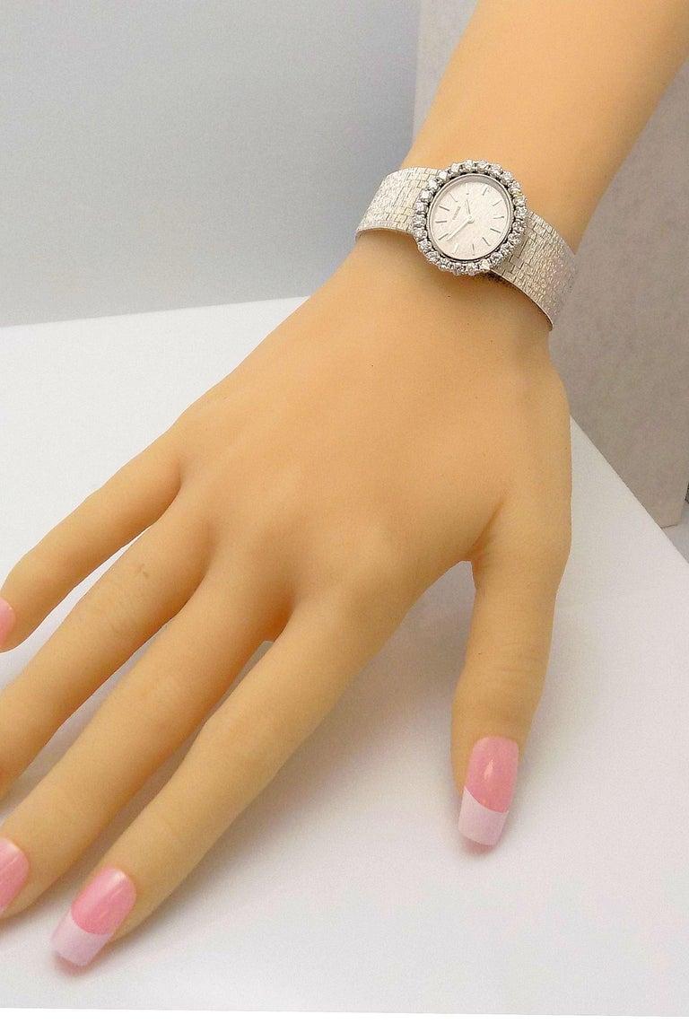 Round Cut Concord Ladies White Gold Diamond Wristwatch For Sale