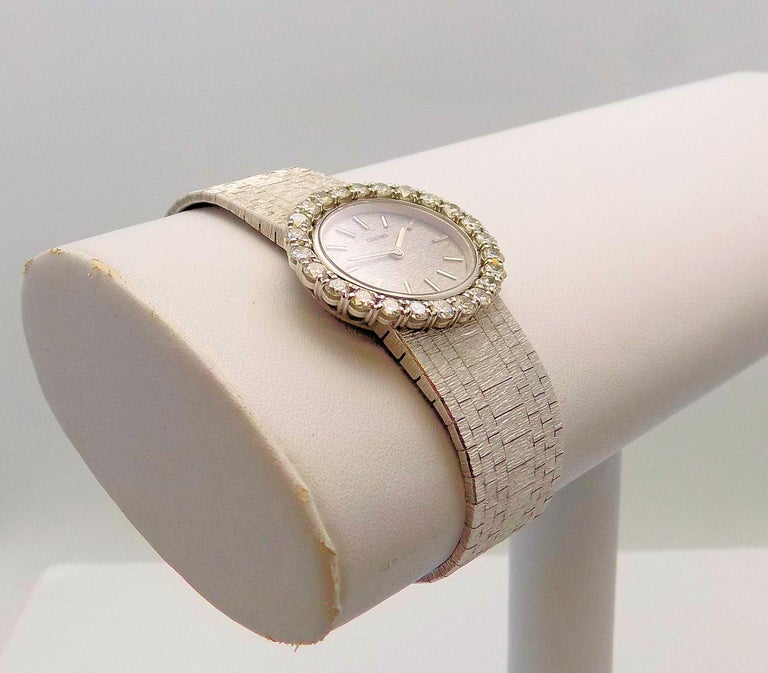 Stunning 18 Karat White Gold Ladies Concord Wrist Watch with Textured Mesh Bracelet, Band 6