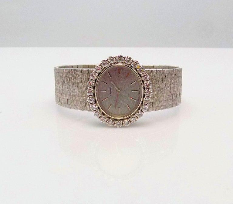 Concord Ladies White Gold Diamond Wristwatch In New Condition For Sale In Dallas, TX
