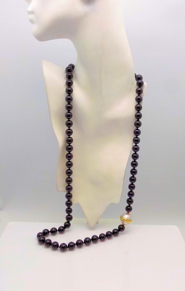 Paloma Picasso for Tiffany & Co. Black Onyx Bead and Mabe Pearl Necklace In Excellent Condition For Sale In Dallas, TX
