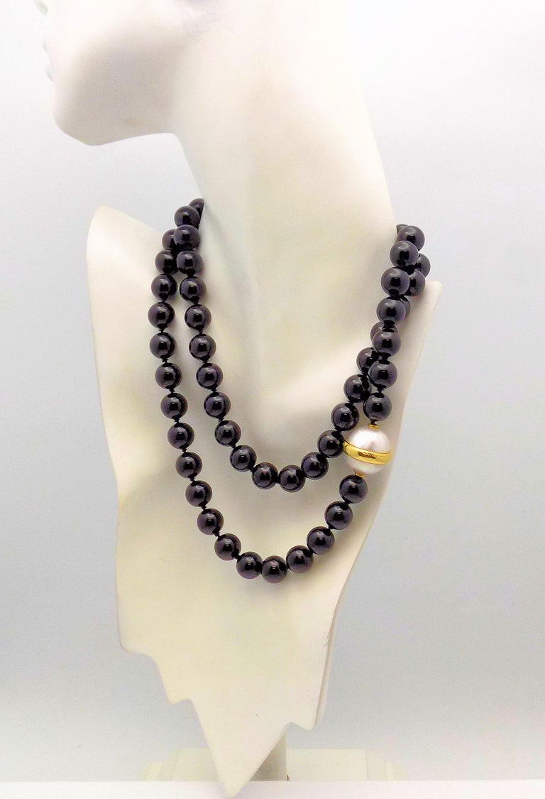 Paloma Picasso for Tiffany & Co. Black Onyx Bead and Mabe Pearl Necklace For Sale 1