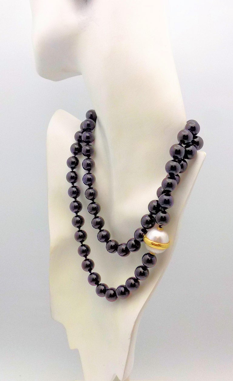 Paloma Picasso for Tiffany & Co. Black Onyx Bead and Mabe Pearl Necklace For Sale 2