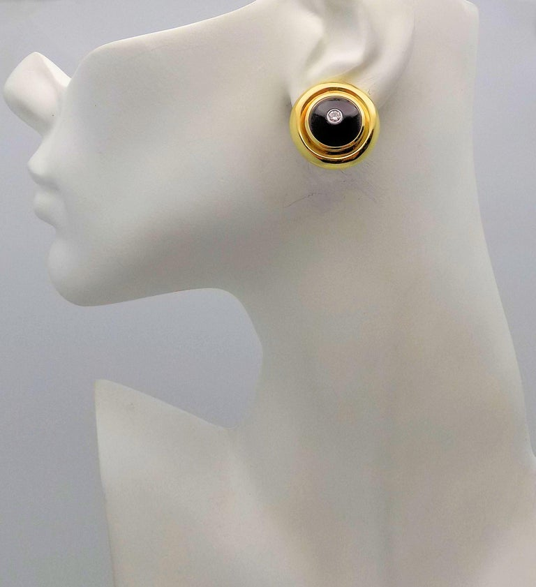 Paloma Picasso for Tiffany & Co. Black Onyx and Diamond Clip Earrings In Excellent Condition For Sale In Dallas, TX