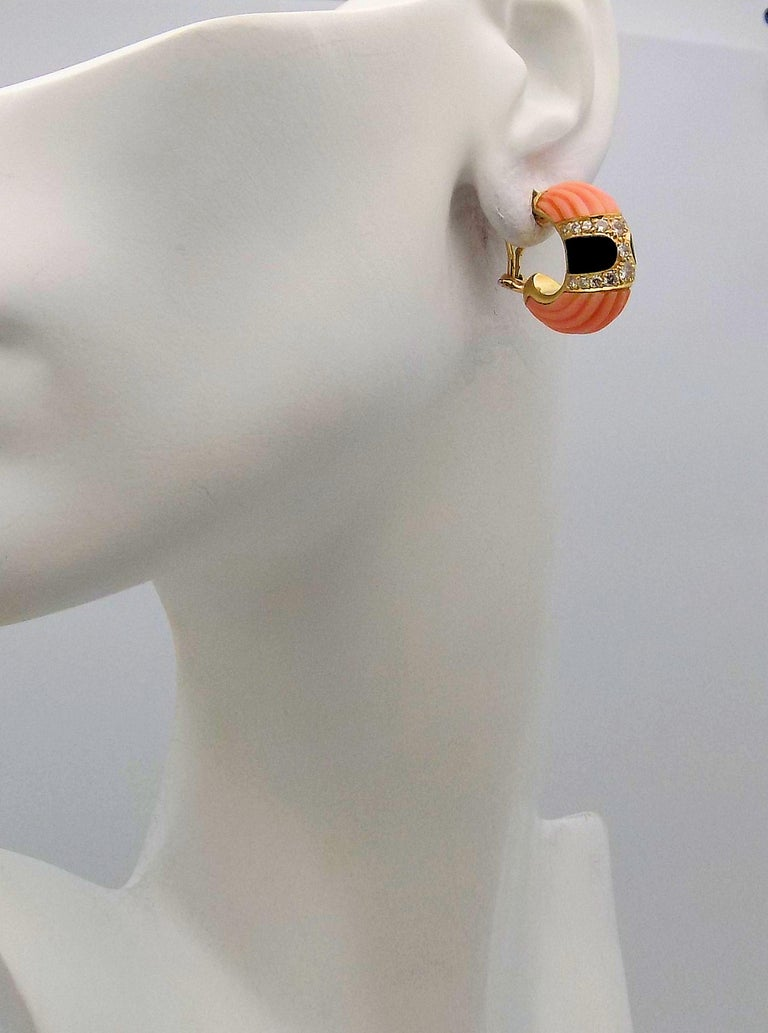 Round Cut Carved Pink Coral, Black Onyx and Diamond Clip Earrings For Sale