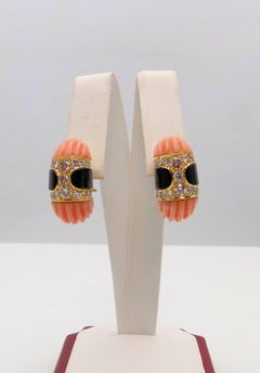 Carved Pink Coral, Black Onyx and Diamond Clip Earrings