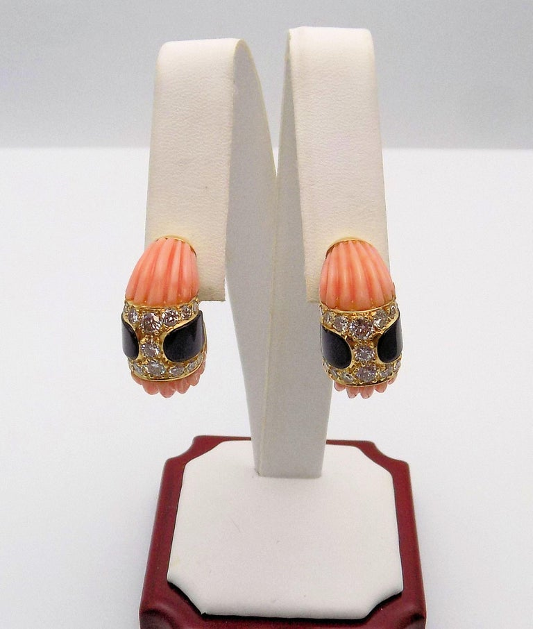 Women's Carved Pink Coral, Black Onyx and Diamond Clip Earrings For Sale