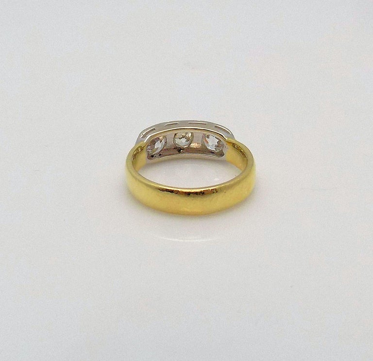 Old European Cut Three-Stone Diamond Ring For Sale