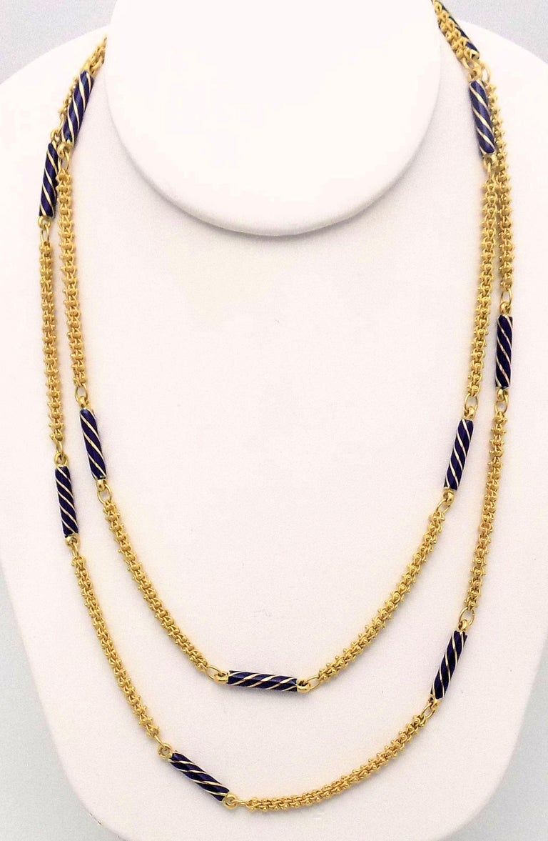 18 Karat Yellow Gold Necklace with Etruscan Link Chain and 12 Cobalt Blue Enamel Rod Shape Beads with Gold Swirls (Minor Enamel Losses), 39