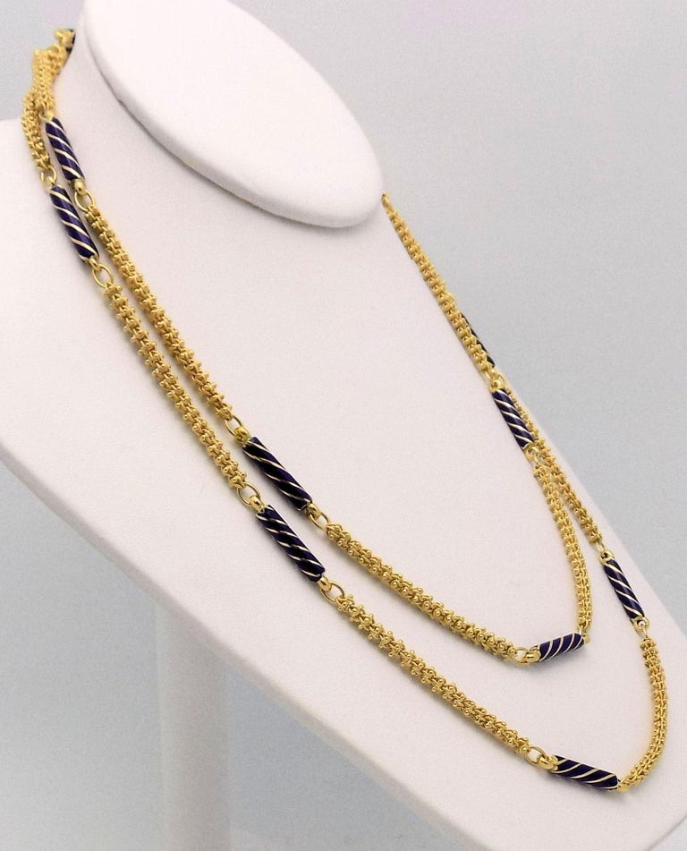 Women's Enamel and Yellow Gold Etruscan Link Necklace For Sale