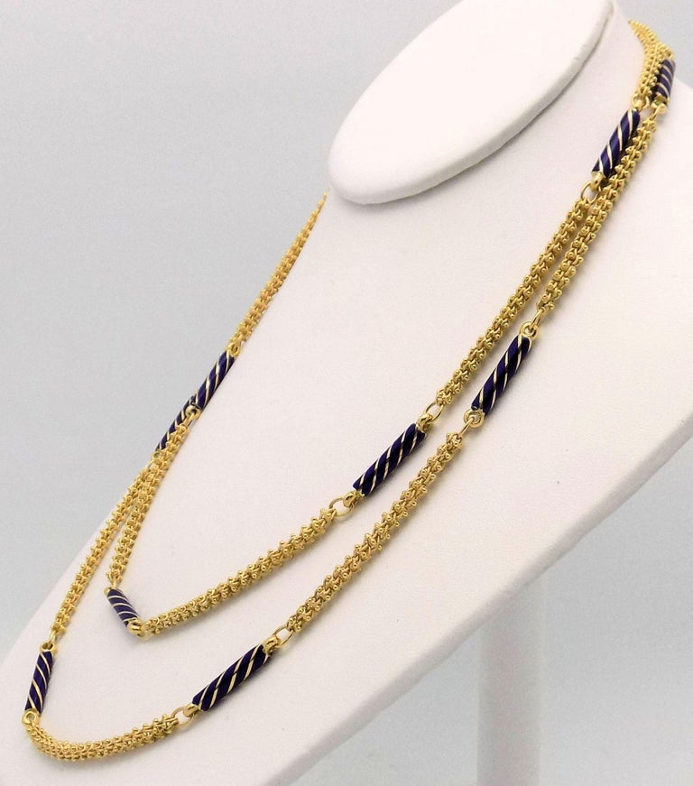 Enamel and Yellow Gold Etruscan Link Necklace For Sale 1