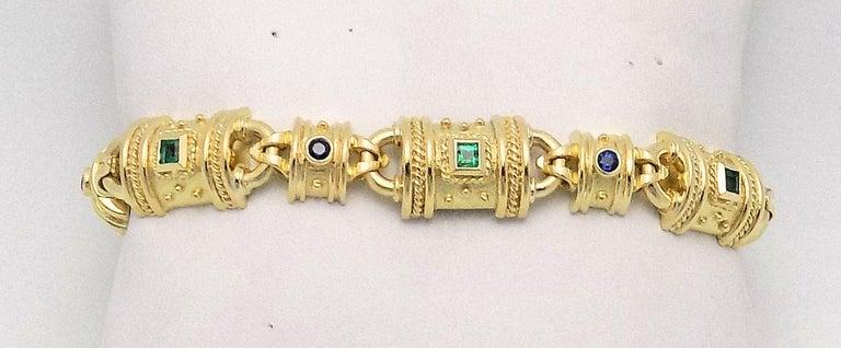 Women's Emerald, Sapphire and Yellow Gold Bracelet For Sale