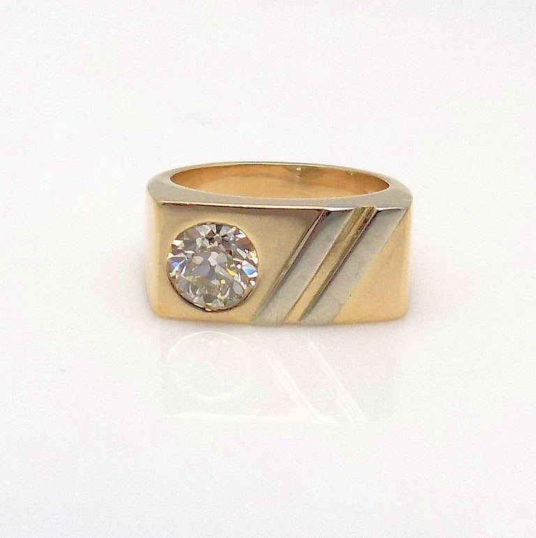 Old European Cut Gent's Diamond Ring For Sale