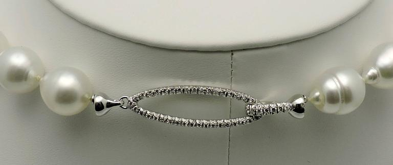 Women's Elegant Baroque South Sea Cultured Pearls with Diamond Clasp For Sale