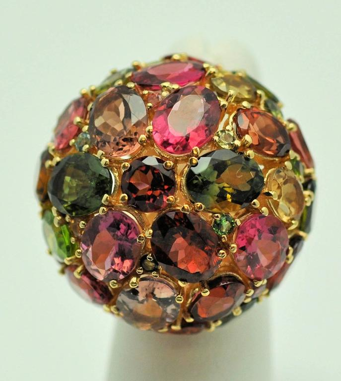 1980s large domed colored gold ring at 1stdibs
