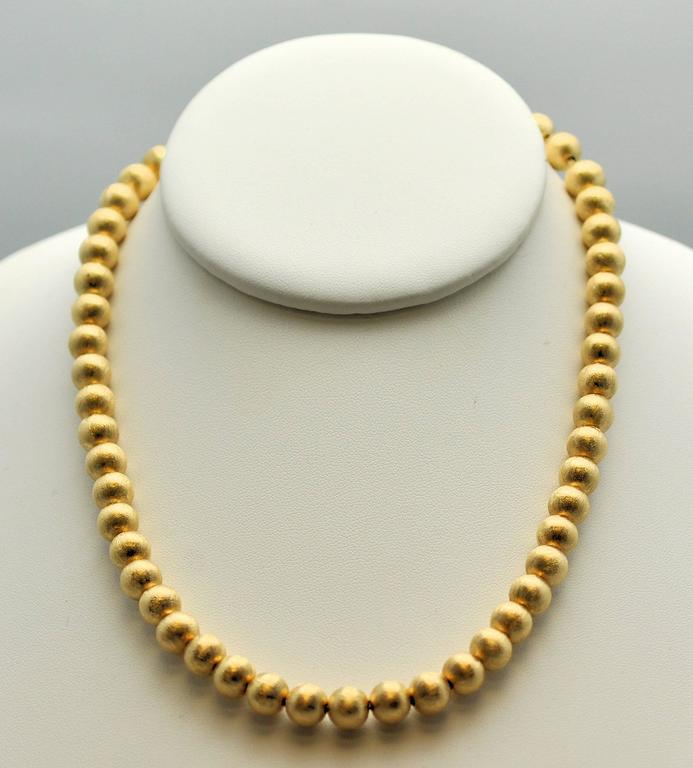 1950s Florentine Finish Gold Bead Necklace For Sale at 1stdibs