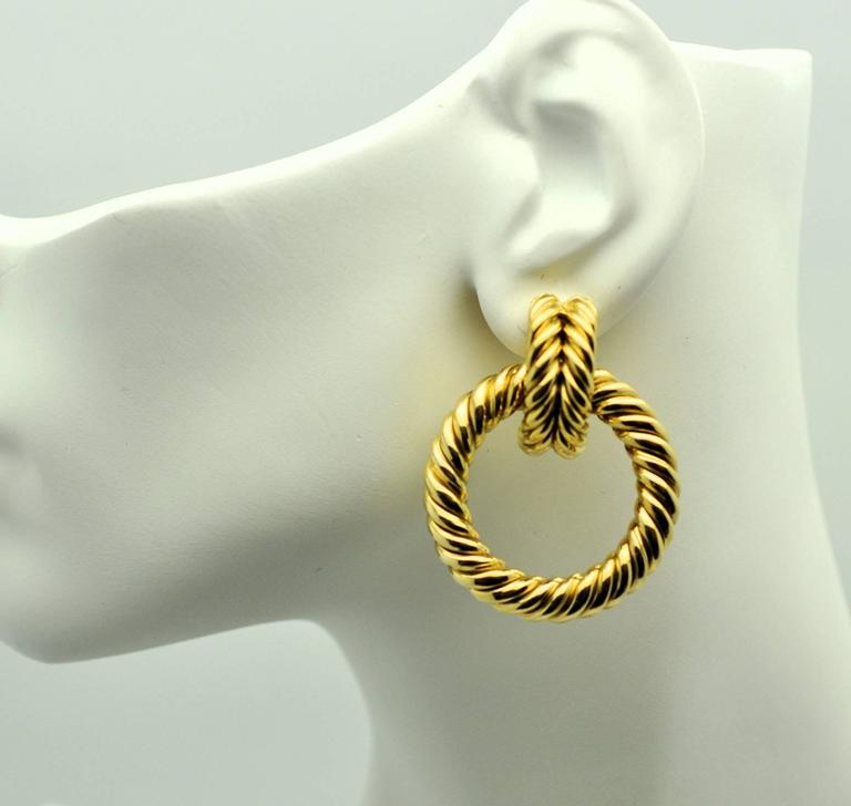 Large Gold Shrimp Doorknocker Earrings  4