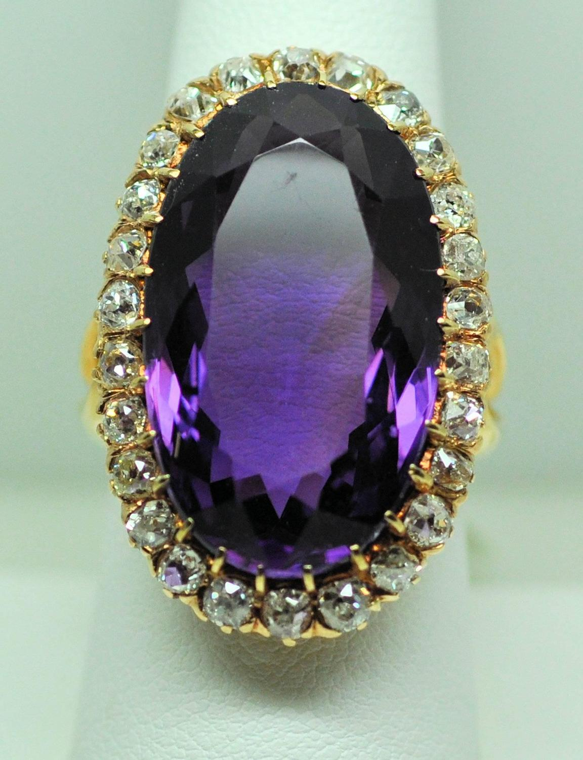 Rose Amethyst Ring With Diamonds