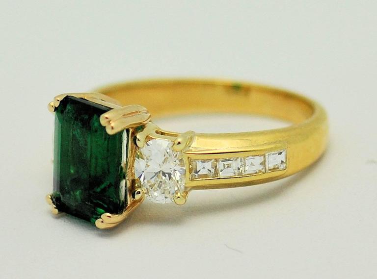 Fine Brazilian Emerald Diamond Ring with American Gem Lab Report 2