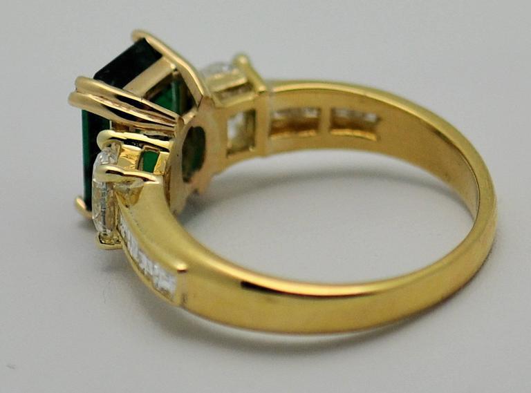 Fine Brazilian Emerald Diamond Ring with American Gem Lab Report 3
