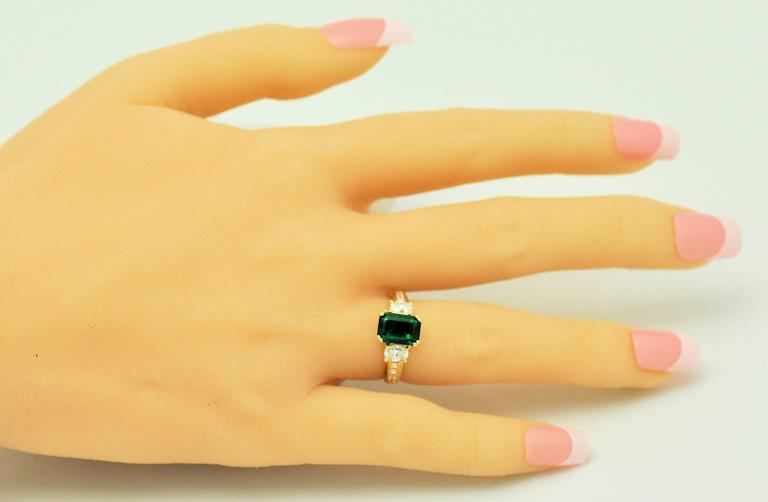Fine Brazilian Emerald Diamond Ring with American Gem Lab Report 5