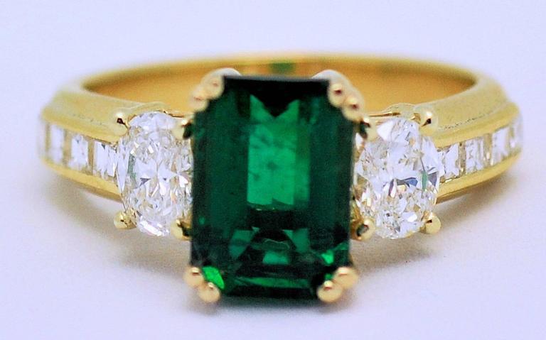 Fine Brazilian Emerald Diamond Ring with American Gem Lab Report 4