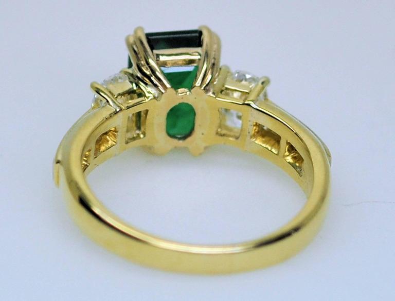 Fine Brazilian Emerald Diamond Ring with American Gem Lab Report 7