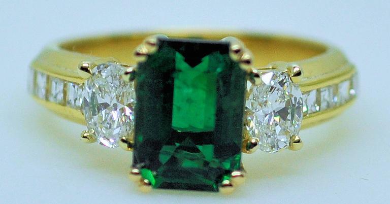 Fine Brazilian Emerald Diamond Ring with American Gem Lab Report 8