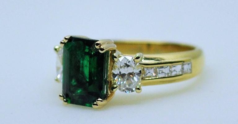 Fine Brazilian Emerald Diamond Ring with American Gem Lab Report 9