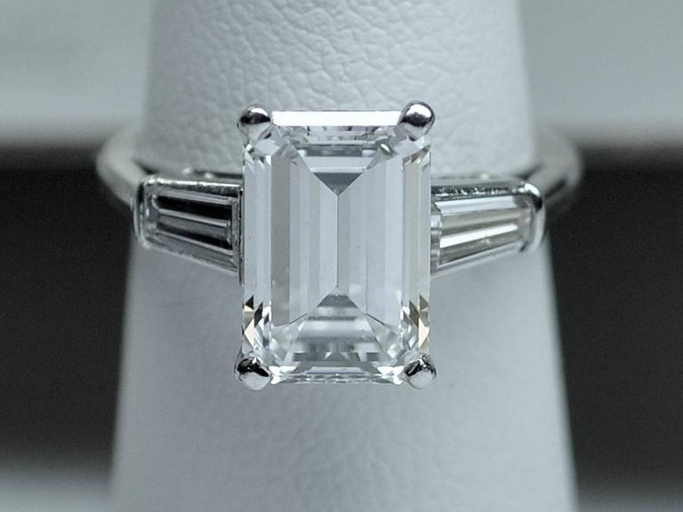 Classic 3.25 Carat Emerald Cut Diamond GIA Certified Engagement Ring 2