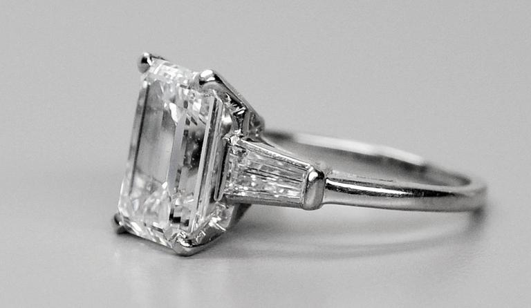 Classic 3.25 Carat Emerald Cut Diamond GIA Certified Engagement Ring 3
