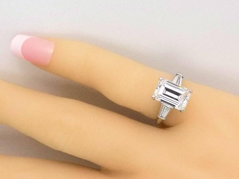 Classic 3.25 Carat Emerald Cut Diamond GIA Certified Engagement Ring 7