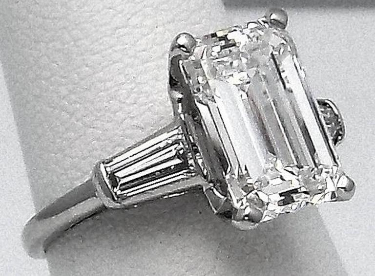 Classic 3.25 Carat Emerald Cut Diamond GIA Certified Engagement Ring 9