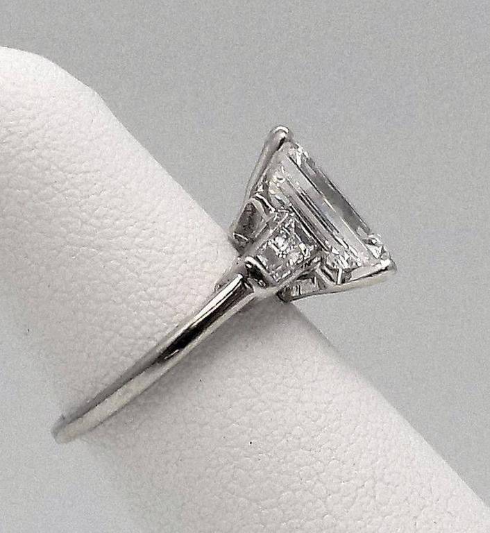 Classic 3.25 Carat Emerald Cut Diamond GIA Certified Engagement Ring 10