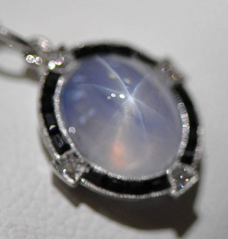 Antique Art Deco Platinum Star Sapphire, Diamond and Black Onyx Pendant and Chai For Sale 3