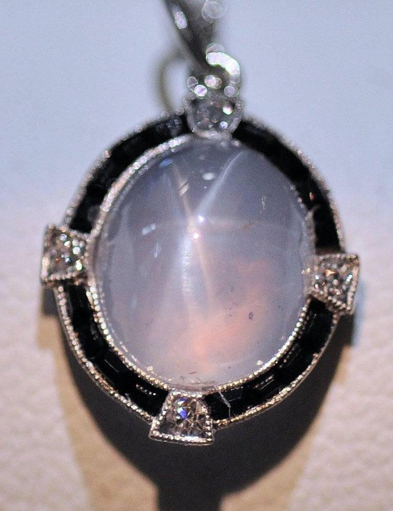 Antique Art Deco Platinum Star Sapphire, Diamond and Black Onyx Pendant and Chai 9