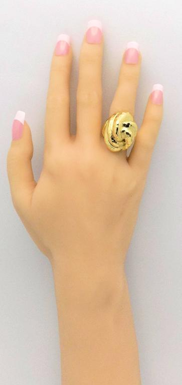 Henry Dunay Facets High Dome Double Knot Gold Ring 6