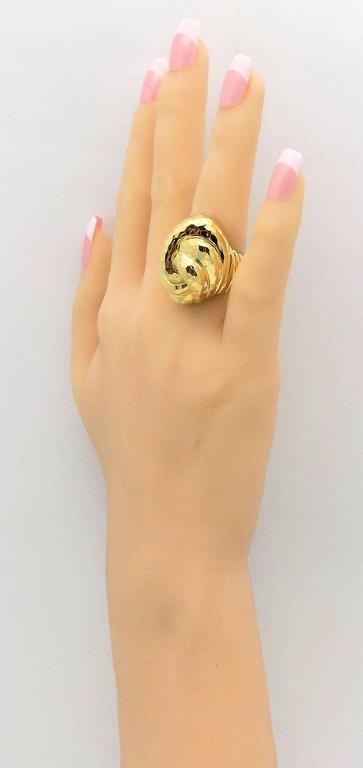 Henry Dunay Facets High Dome Double Knot Gold Ring For Sale 3