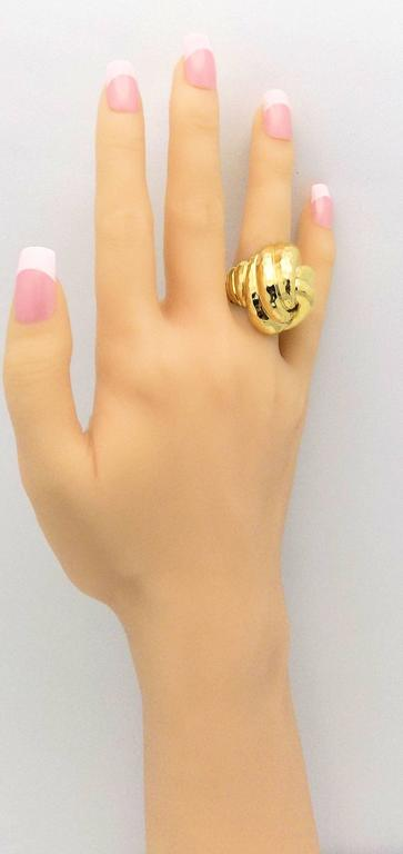 Henry Dunay Facets High Dome Double Knot Gold Ring 9