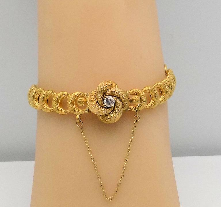 Antique Gold and Diamond Bracelet by Krementz In Excellent Condition For Sale In Dallas, TX