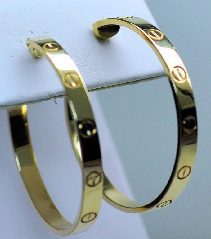 Cartier Yellow Gold Large Love Hoop Earrings   2