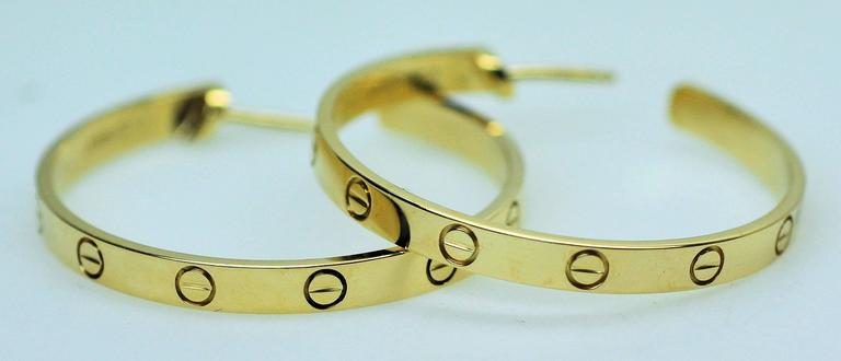 Cartier Yellow Gold Large Love Hoop Earrings   For Sale 1