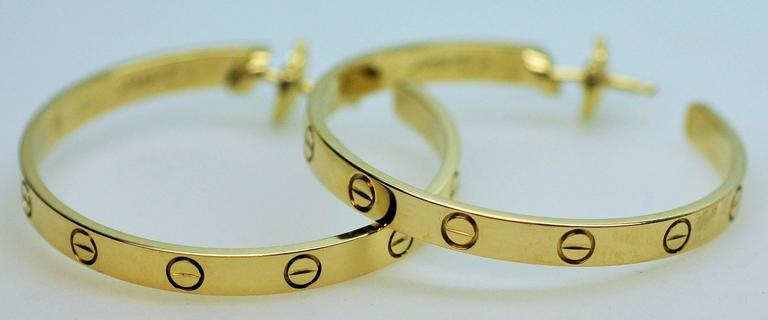 Cartier Yellow Gold Large Love Hoop Earrings   For Sale 2