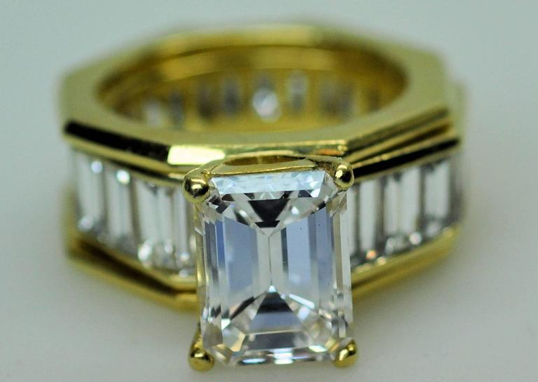 GIA Emerald Cut 4.09 Carat Diamond Baguette Diamond Wedding Band Insert Ring 2