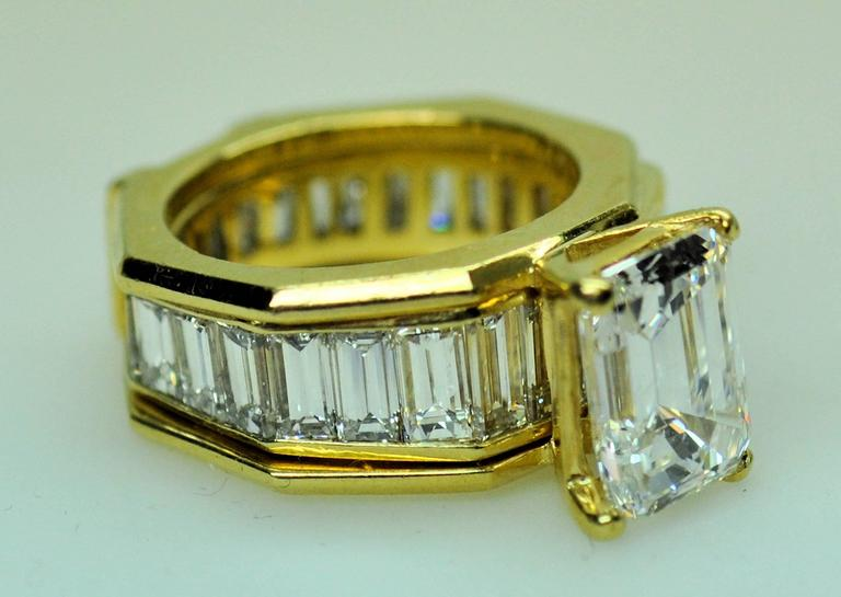 GIA Emerald Cut 4.09 Carat Diamond Baguette Diamond Wedding Band Insert Ring 3