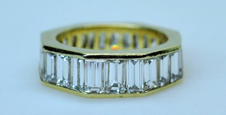 GIA Emerald Cut 4.09 Carat Diamond Baguette Diamond Wedding Band Insert Ring 6