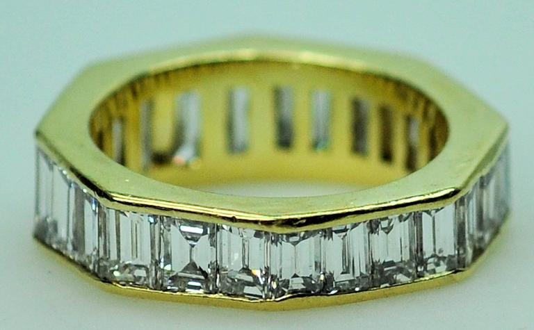 GIA Emerald Cut 4.09 Carat Diamond Baguette Diamond Wedding Band Insert Ring 7