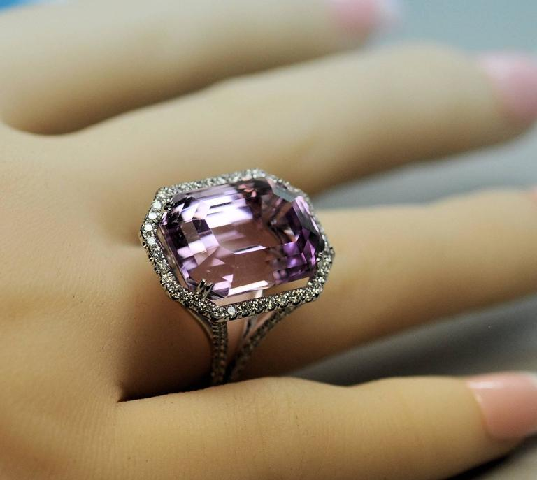 25.50 Carat Kunzite Diamond White Gold Ring 6