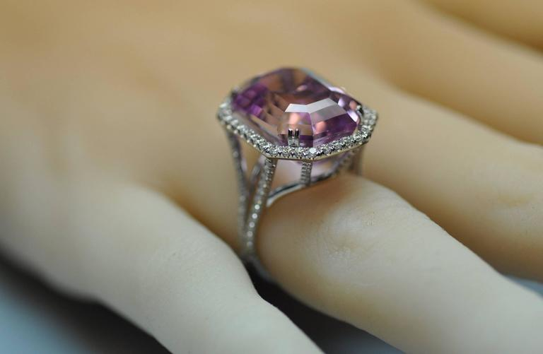 25.50 Carat Kunzite Diamond White Gold Ring 7