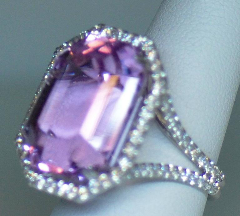 25.50 Carat Kunzite Diamond White Gold Ring 9